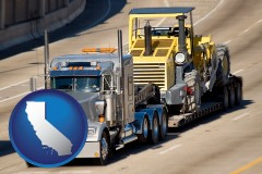 california map icon and a semi-truck hauling heavy construction equipment