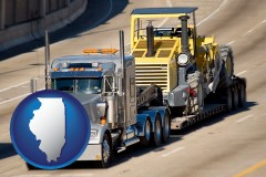 illinois map icon and a semi-truck hauling heavy construction equipment