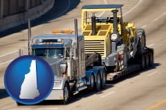 new-hampshire map icon and a semi-truck hauling heavy construction equipment