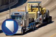 nevada map icon and a semi-truck hauling heavy construction equipment