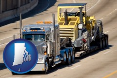 rhode-island map icon and a semi-truck hauling heavy construction equipment