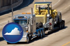 virginia map icon and a semi-truck hauling heavy construction equipment