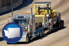 washington map icon and a semi-truck hauling heavy construction equipment